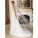 One-tier Lace Applique Edge Cathedral Bridal Veils With Applique (006024550)