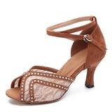 Women's Lace Suede Heels Latin Dance Shoes (053182447)