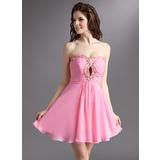Vestidos princesa/ Formato A Coração Curto/Mini De chiffon Vestido de boas vindas com Pregueado Bordado (022016295)