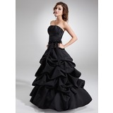 Ball-Gown Strapless Floor-Length Satin Quinceanera Dress With Ruffle Bow(s) (021020324)