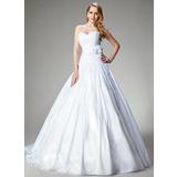 Платье для Балла В виде сердца Церковный шлейф Тафта Свадебные Платье с кружева Бисер Цветы (002000680)
