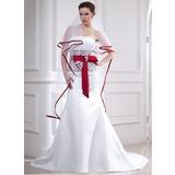 Trompete/Sereia Sem Alças Cauda longa Cetim Vestido de noiva com Renda Cintos Pino flor crystal Curvado (002012654)