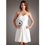Vestidos princesa/ Formato A Coração Curto/Mini Tafetá Vestido de boas vindas com Pregueado fecho de correr (022016353)