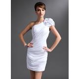Tubo Um ombro Curto/Mini tecido de seda Vestido para a mãe da noiva com Pregueado fecho de correr (008016385)