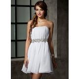 Vestidos princesa/ Formato A Coração Curto/Mini De chiffon Vestido de boas vindas com Pregueado Bordado (022021017)
