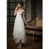 A-Line/Princess V-neck Ankle-Length Chiffon Tulle Wedding Dress With Lace Beading Sequins (002012655)