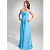 Império Amada Longos Tecido de seda Vestido para madrinha grávida com Pregueado (045004424)
