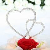 Corações Dobro Cromado Casamento Decorações de bolos (Conjunto de 2 peças) (119030817)