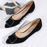 Women's Suede Flat Heel Closed Toe Flats With Button (047193142)
