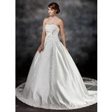 De baile Sem Alças Cauda longa Cetim Vestido de noiva com Pregueado Renda Bordado Curvado (002017425)