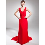 A-Line V-neck Sweep Train Chiffon Holiday Dress With Ruffle (020014685)