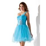 Vestidos princesa/ Formato A Um ombro Curto/Mini Tule Vestido de boas vindas com Pregueado Bordado (022010633)