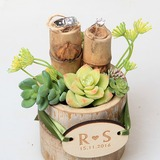 Personalized Bamboo Ring Holder With Artifical Plants (103203891)