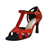 Mulheres Cetim Saltos Sandálias Latino com Correia -T Sapatos de dança (053018507)