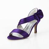 Naisten Satiini Spool heel Avokärkiset korkokengät Sandaalit jossa Bowknot Tarranauha (047029878)