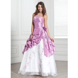 Ball-Gown Strapless Floor-Length Taffeta Organza Quinceanera Dress With Beading Flower(s) Cascading Ruffles (021020890)