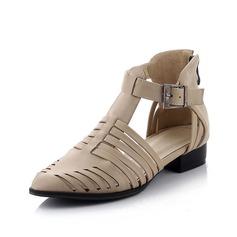 Couro Sem salto Sem salto Fechados com Fivela sapatos (086064828)