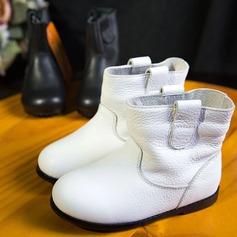 девичий Настоящая кожа Плоский каблук Круглый носок Ботинки (207143452)