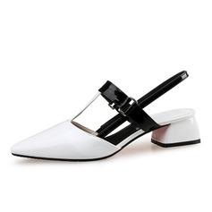 Женщины Лакированная кожа Устойчивый каблук На каблуках Закрытый мыс Босоножки обувь (085090438)
