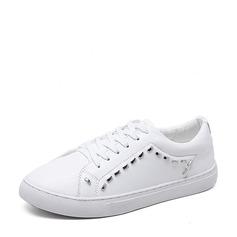 Женщины PU Плоский каблук На плокой подошве Закрытый мыс с Шнуровка обувь (086138673)