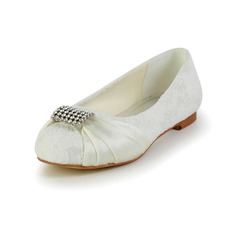 Flicka Stängt Toe Satin platt Heel Platta Skor / Fritidsskor Flower Girl Shoes med Strass (207095474)