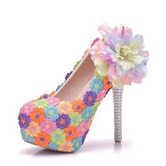 Женщины кожа Высокий тонкий каблук Закрытый мыс Платформа На каблуках с Цветок Каблуки с кристаллами (047149261)