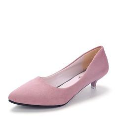 Женщины Замша Низкий каблук (рюмка) Закрытый мыс обувь (085150513)