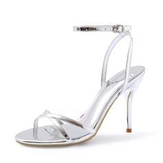 Женщины Лакированная кожа Высокий тонкий каблук Сандалии Босоножки обувь (087080103)