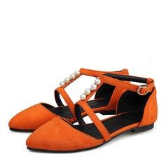 Женщины Замша Плоский каблук Сандалии На плокой подошве Закрытый мыс с Имитация Перл пряжка обувь (086207051)