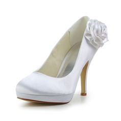 Vrouwen Satijn Stiletto Heel Closed Toe Plateau Pumps met Satijnen Bloem (047029467)