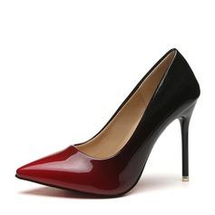 Женщины Лакированная кожа Высокий тонкий каблук На каблуках Закрытый мыс обувь (085150488)