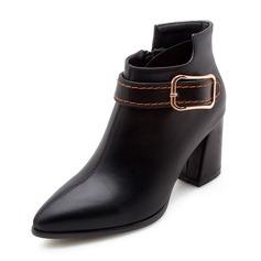 Femmes Similicuir Talon bottier Bout fermé Bottes Bottines avec Boucle Zip chaussures (088172569)