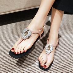 Mulheres Couro Sem salto Sandálias Beach Wedding Shoes com Fivela Strass (047125411)