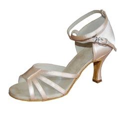 Женщины Атлас На каблуках Сандалии Латино с Ремешок на щиколотке Обувь для танцев (053013175)
