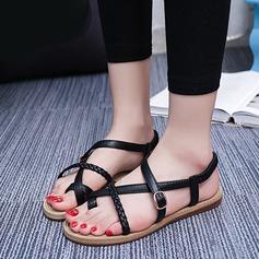 Женщины кожа Плоский каблук Сандалии Открытый мыс Босоножки с пряжка Другие обувь (087121488)