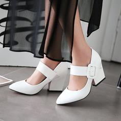 Женщины Лакированная кожа Устойчивый каблук На каблуках с пряжка обувь (085115162)