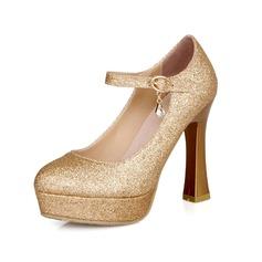 Mulheres Couro Salto robusto Bombas Plataforma Fechados com Fivela sapatos (085044125)