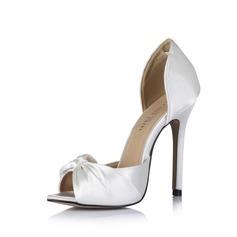 Vrouwen zijde als satijn Stiletto Heel Peep Toe Sandalen met strik (047026433)