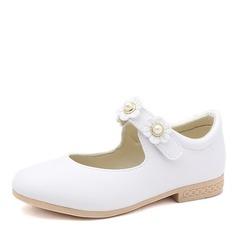 Jentas Round Toe Lukket Tå Leather flat Heel Flate sko Flower Girl Shoes med Velcro Blomst (207167112)