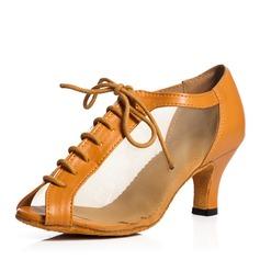 Женщины Холст Кружева Сандалии качать с Шнуровка Обувь для танцев (053103533)