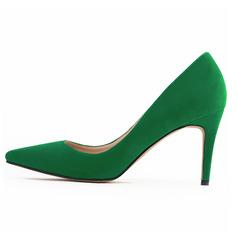 Femmes Suède Talon stiletto Escarpins Bout fermé chaussures (085059048)
