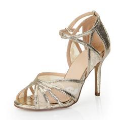 Konstläder Stilettklack Sandaler Pumps med Spänne skor (087053001)
