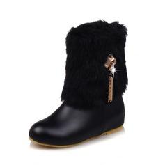 Женщины кожа Плоский каблук Ботинки с Застежка-молния кисточкой мех обувь (088109383)