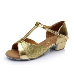 Детская обувь кожа На каблуках Сандалии Латино с Т-ремешок Обувь для танцев (053053088)