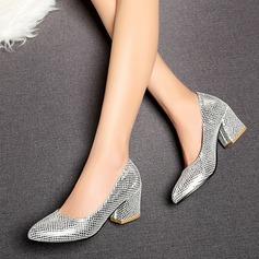 Женщины кожа Устойчивый каблук На каблуках обувь (085103251)