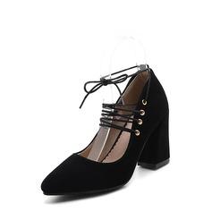 Женщины Замша Устойчивый каблук Mary Jane с Шнуровка обувь (085114537)