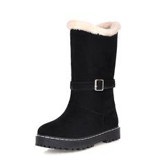 Женщины Замша Плоский каблук Сапоги до середины голени Зимние сапоги обувь (088074024)