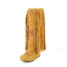 Kvinner Semsket Flat Hæl Flate sko Lukket Tå Mid Leggen Støvler Snø Støvler med Tassel Annet sko (088126567)