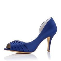 Женщины шелка как атласное Высокий тонкий каблук Открытый мыс На каблуках с Рябь (047117219)