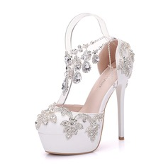 Women's Leatherette Stiletto Heel Closed Toe Platform Pumps With Rhinestone (047149257)